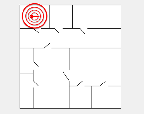 Illustration of unauthorised zone alert with grey background, uses building map showing the alert being set off for keys or assets in the wrong zone.