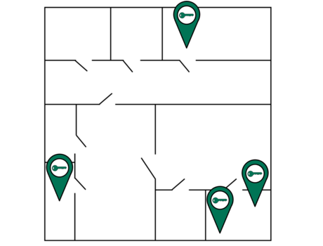 Illustration of location zone tracking with white background, uses building map showing where keys and assets were last located.